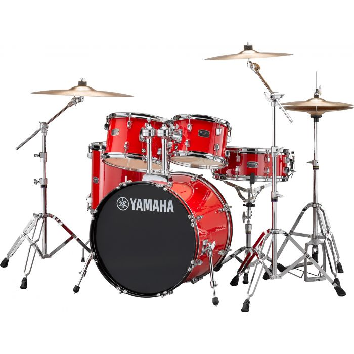 """Yamaha Rydeen 20"""" Drum Kit with Hardware and Cymbals in Hot Red Angle"""