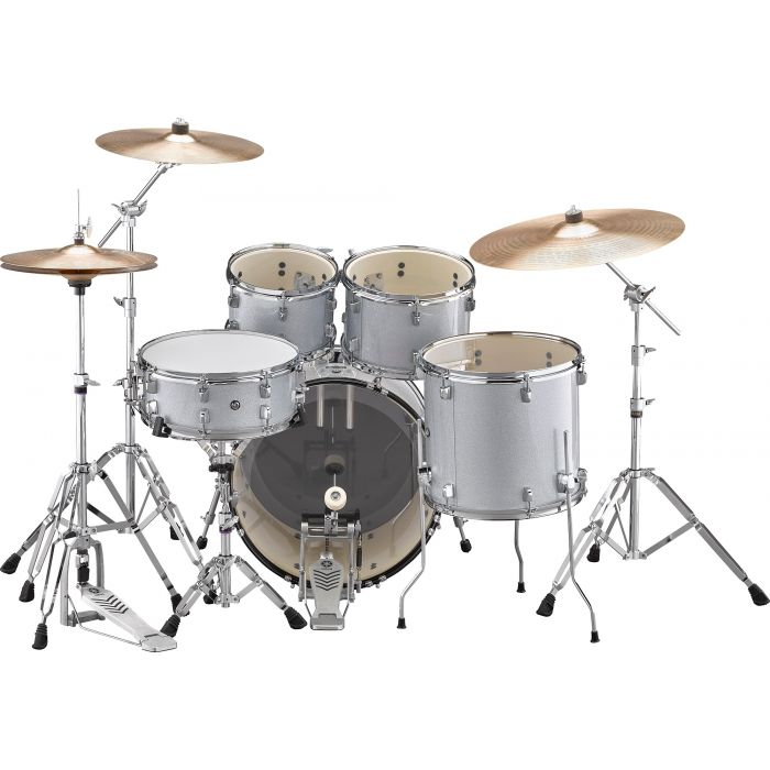 """Yamaha Rydeen 20"""" Drum Kit with Hardware and Cymbals in Silver Sparkle Back"""