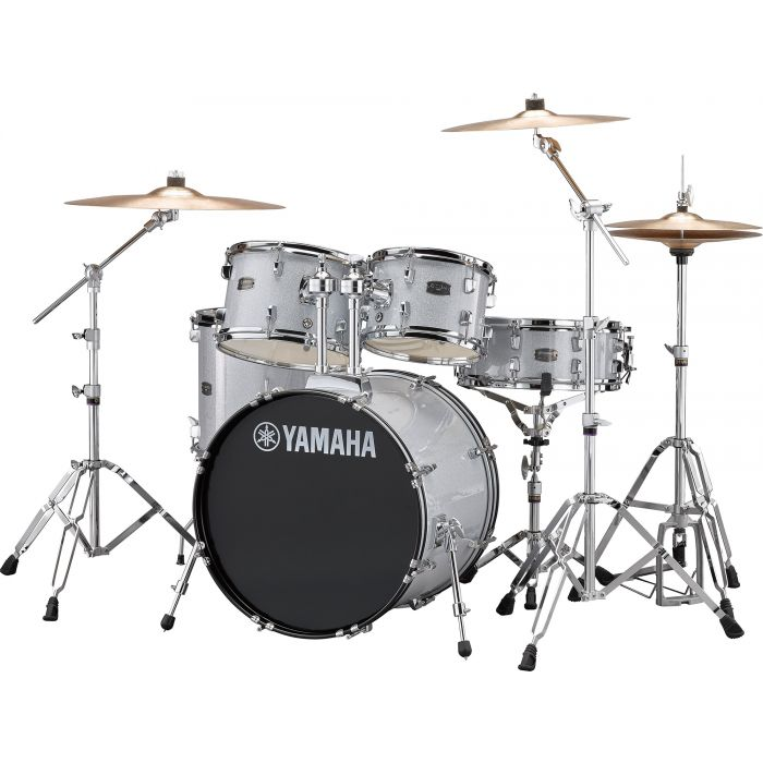 """Yamaha Rydeen 20"""" Drum Kit with Hardware and Cymbals in Silver Sparkle Angle"""