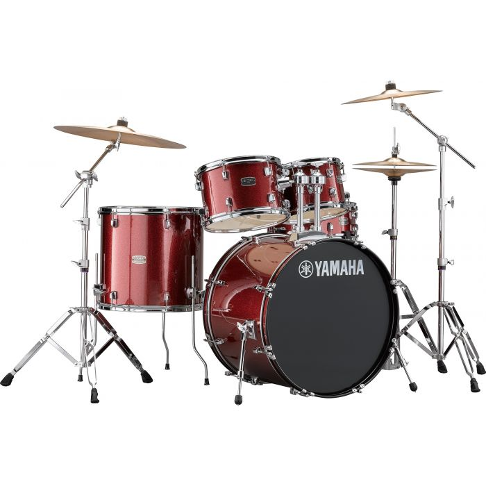"Yamaha Rydeen 22"" Drum Kit with Hardware and Cymbals in Burgundy Sparkle"