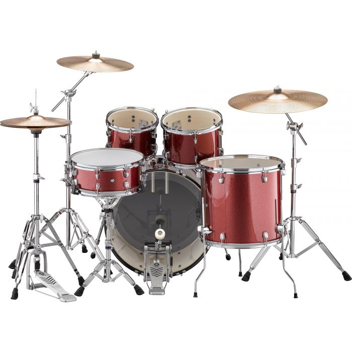 "Yamaha Rydeen 22"" Drum Kit with Hardware and Cymbals in Burgundy Sparkle Back"