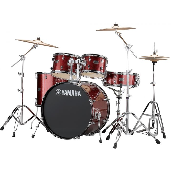 "Yamaha Rydeen 22"" Drum Kit with Hardware and Cymbals in Burgundy Sparkle Angle"