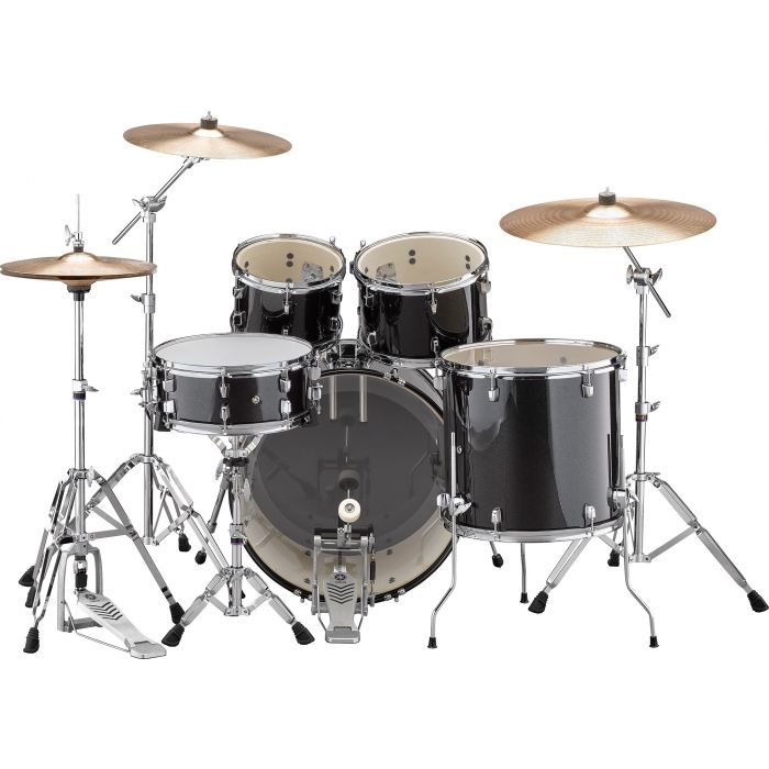 """Yamaha Rydeen 22"""" Drum Kit with Hardware and Cymbals in Black Sparkle Back"""
