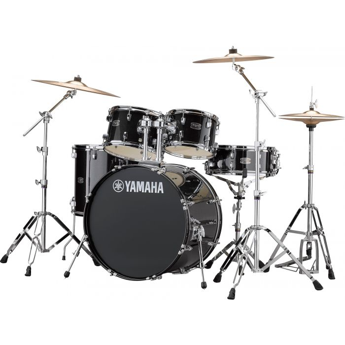 """Yamaha Rydeen 22"""" Drum Kit with Hardware and Cymbals in Black Sparkle Angle"""