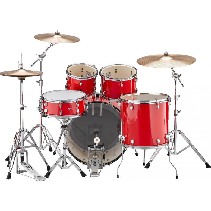"""Yamaha Rydeen 22"""" Drum Kit with Hardware and Cymbals in Hot Red Back"""
