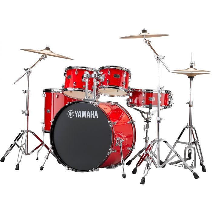 """Yamaha Rydeen 22"""" Drum Kit with Hardware and Cymbals in Hot Red Angle"""