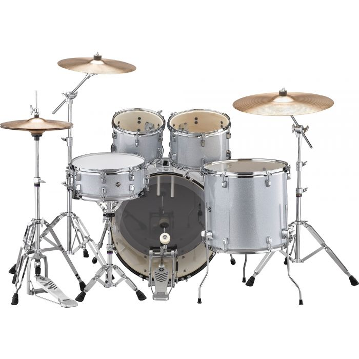 "Yamaha Rydeen 22"" Drum Kit with Hardware and Cymbals in Silver Sparkle Back"