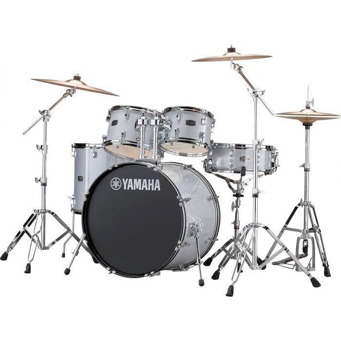 "Yamaha Rydeen 22"" Drum Kit with Hardware and Cymbals in Silver Sparkle Angle"