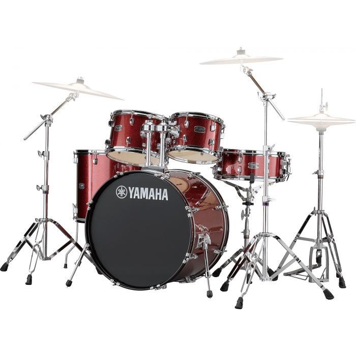 Yamaha Rydeen 22 Inch Drum Shell Kit With Hardware in Burgundy Sparkle Angle