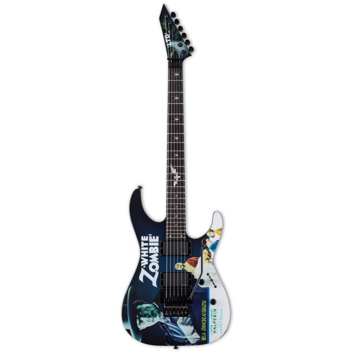 Full view of an ESP KH-WZ Kirk Hammett Signature guitar with White Zombie Graphic