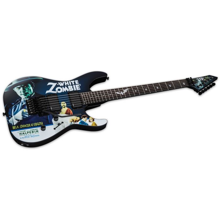 Front angled view of an ESP KH-WZ Kirk Hammett Signature guitar with White Zombie Graphic
