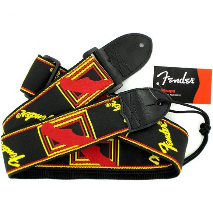 Fender Monogrammed Guitar Strap Black Red and Yellow