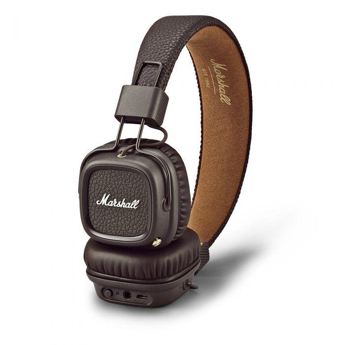 Marshall Major II Bluetooth Wireless Headphones Brown Side On Desk