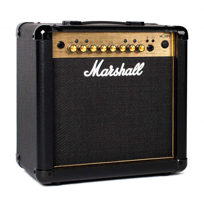 Marshall MG15GFX Guitar Combo Amplifier in Black and Gold Angle
