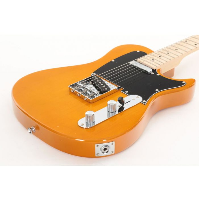 Low Angle of Eastcoast GT100H Deluxe Electric Guitar Butterscotch Blonde