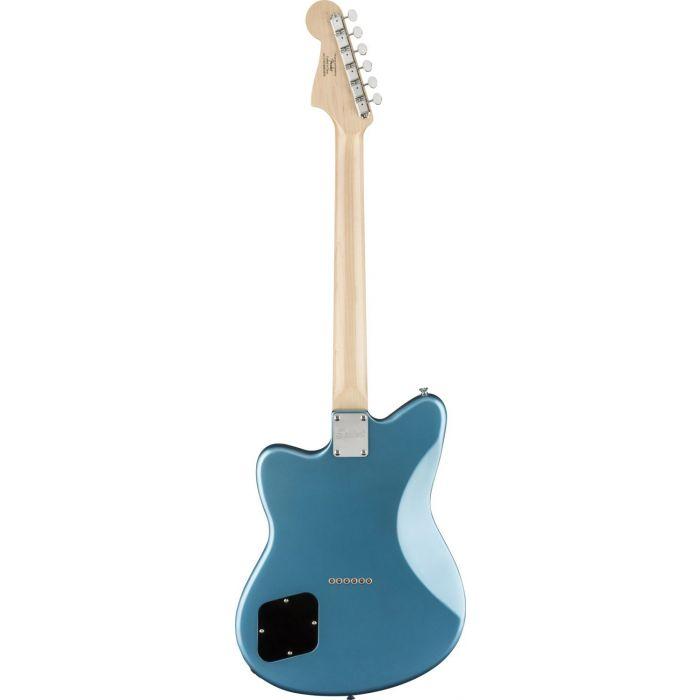 Full rear view of a Squier Paranormal Toronado Guitar, Lake Placid Blue