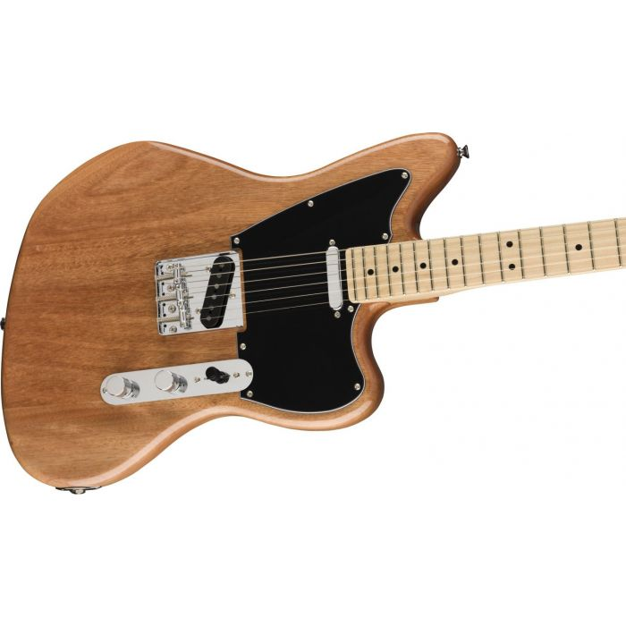 Angled view of the body on a Squier Paranormal Offset Telecaster Guitar MN, Natural