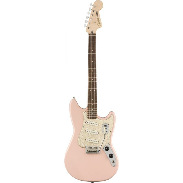 Full frontal view of a Squier Paranormal Cyclone Guitar, Shell Pink
