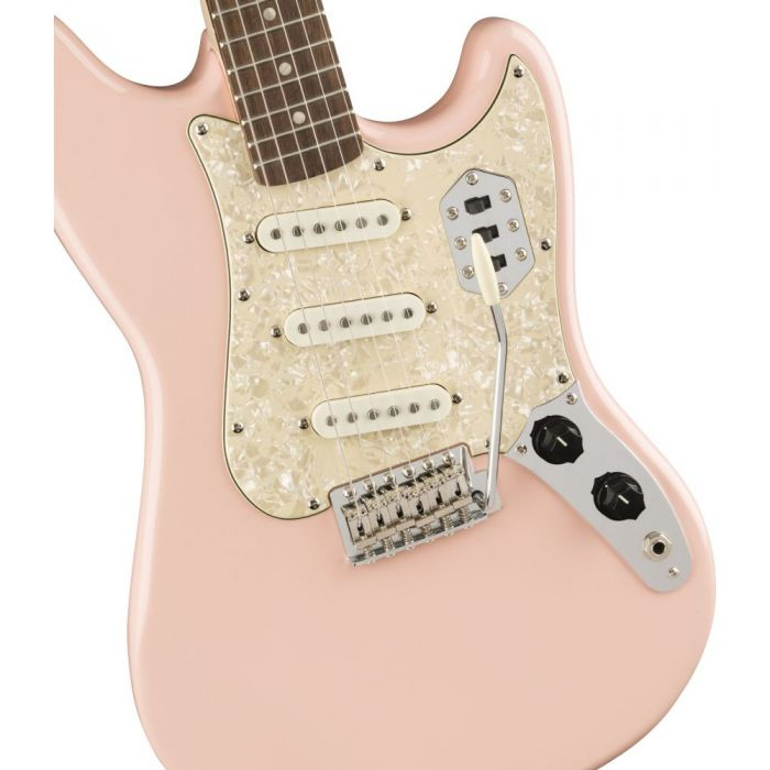 Closeup of the body on a Squier Paranormal Cyclone Guitar, Shell Pink