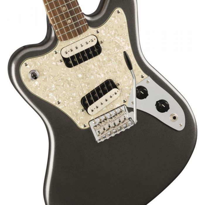 Closeup of the body on a Squier Paranormal Super-Sonic Guitar, Graphite Metallic