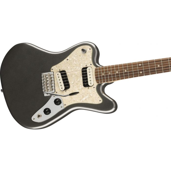 Front angled view of a Squier Paranormal Super-Sonic Guitar, Graphite Metallic