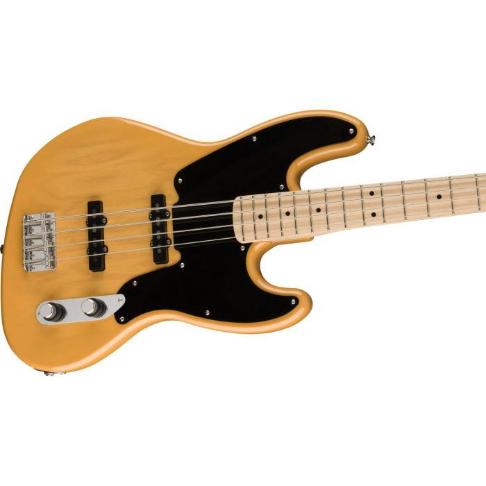 Front angled view of a Squier Paranormal Jazz Bass 54 MN, Butterscotch Blonde