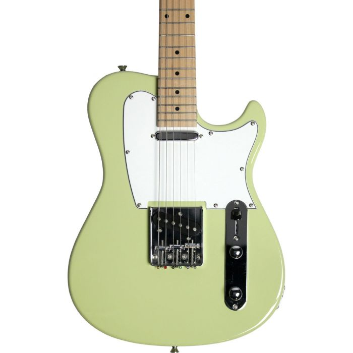 Closeup of the front view of the body on a Eastcoast GT100 Electric Guitar, Vintage Green