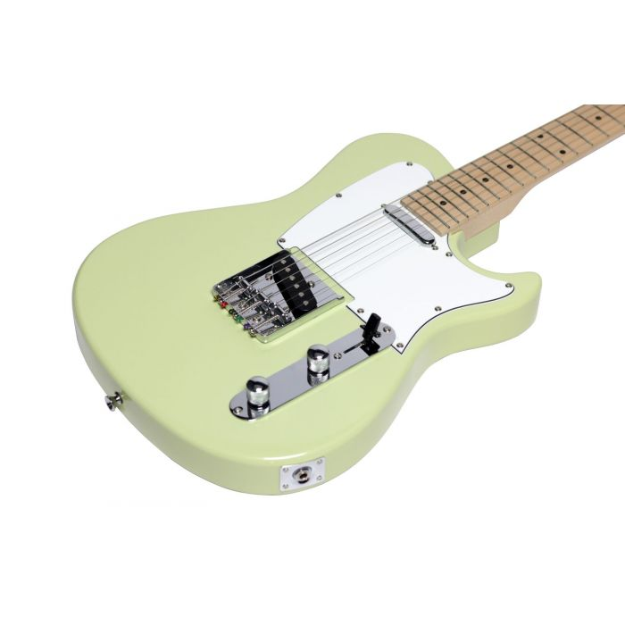 Angled view of the body on a Eastcoast GT100 Electric Guitar, Vintage Green