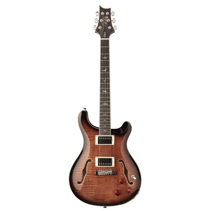 Full frontal view of a PRS SE Hollowbody II Piezo Guitar, Black Gold Burst