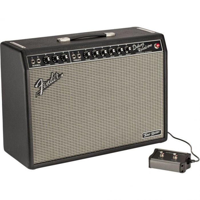 Front angled view of a Fender Tonemaster Deluxe Reverb Combo Amplifier with footswitch