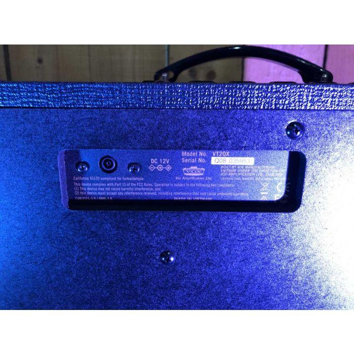 Close Up of B-Stock Vox VT20X Guitar Amplifier Combo Rear