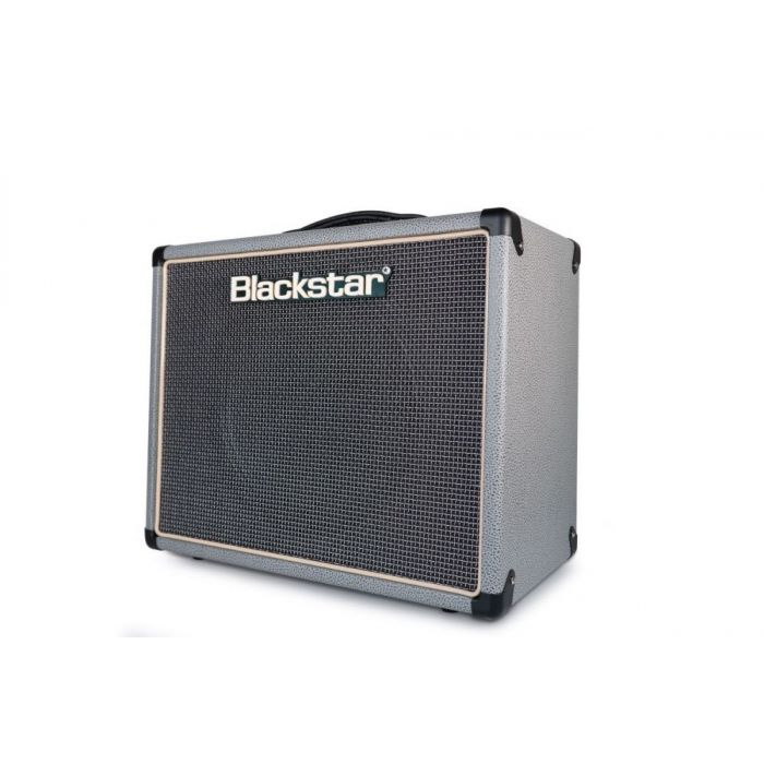Front angled view of a Blackstar Limited Edition HT-5R MKII Guitar Combo, Bronco Grey