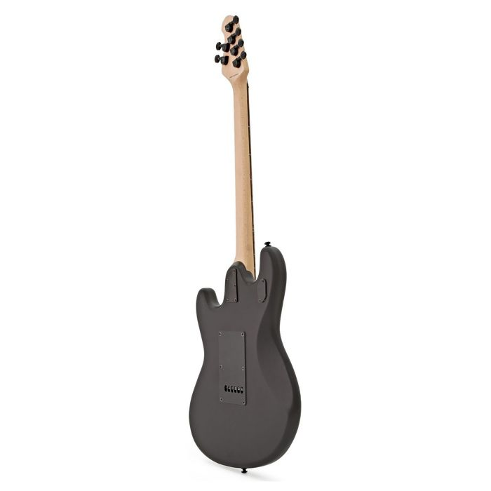 Rear angled view of a Musicman Sterling SUB Stringray SR30 Guitar, Stealth Black