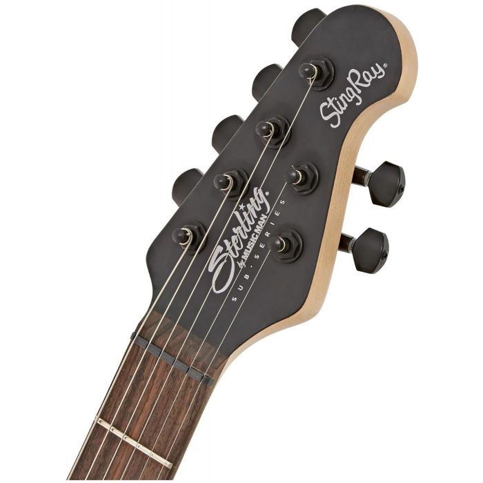 Closeup of the headstock on a Musicman Sterling SUB Stringray SR30 Guitar, Stealth Black