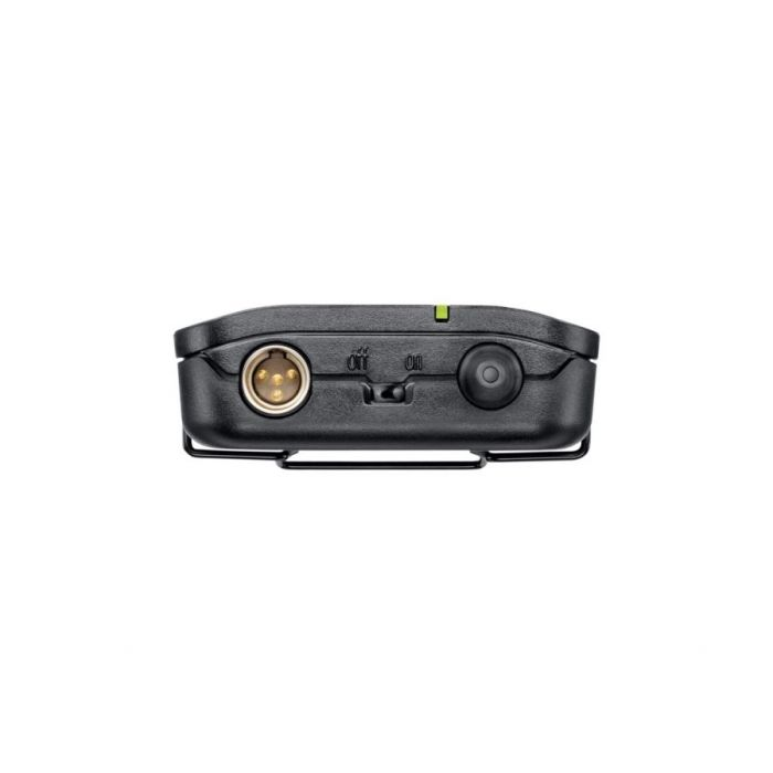 top-down view of a Shure BLX1 Bodypack transmitter
