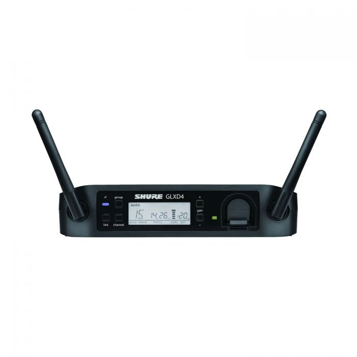 Front view of a Shure GLXD4 wireless receiver