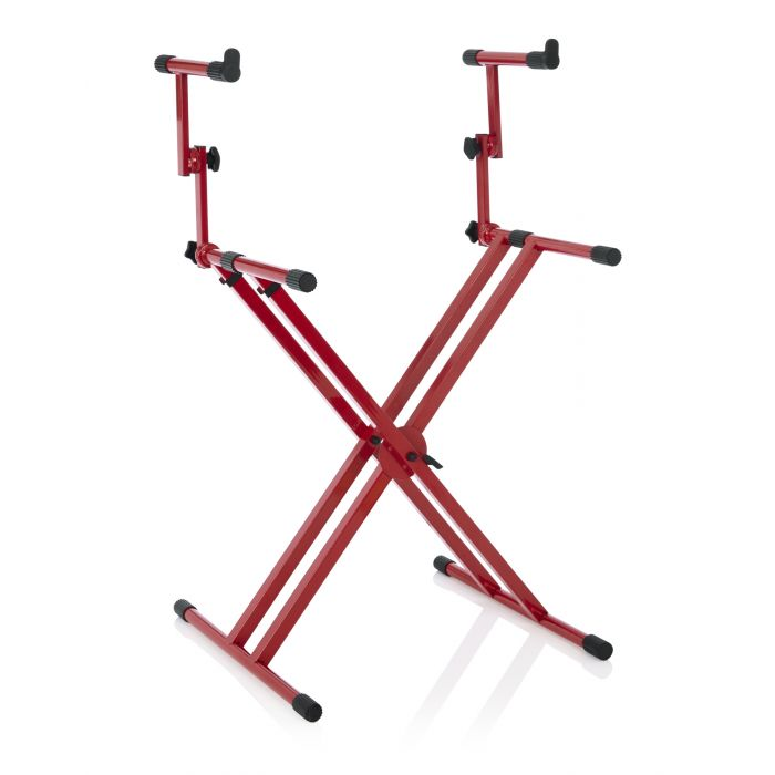 Gator Frameworks Deluxe 2-Tier Keyboard Stand Nord Red Angled Right