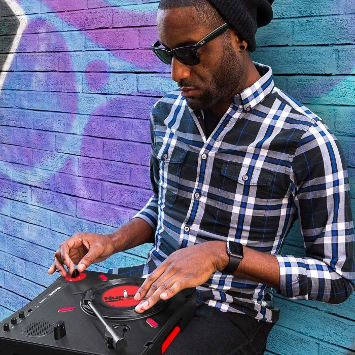 Numark PT01 Scratch Portable Turntable In The Street
