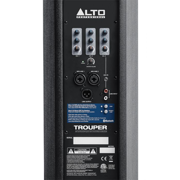 Alto Trouper All-In-One Portable PA System Rear Detail