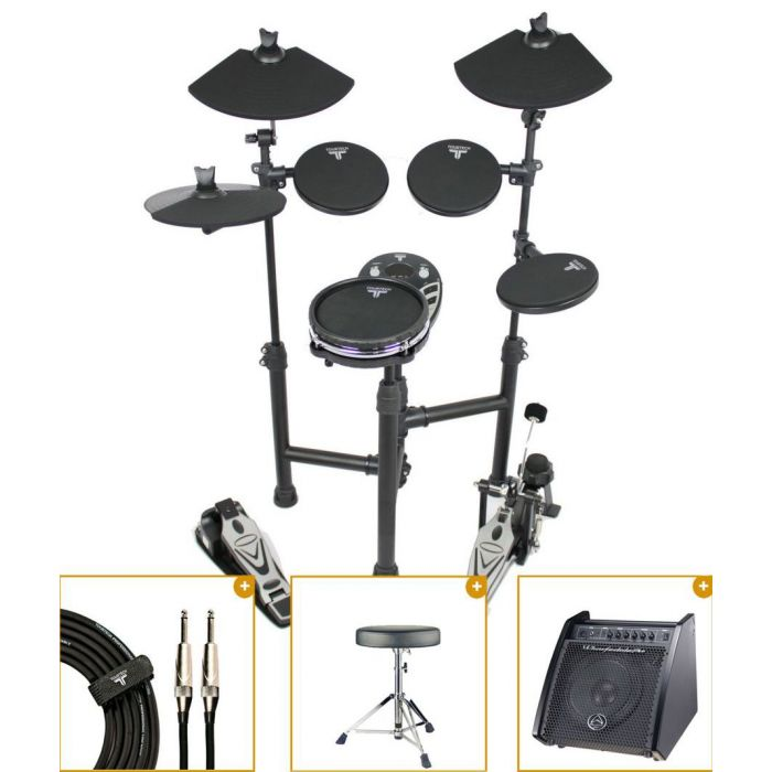 Full view of a TourTech TT-125SM Electronic Mesh Snare Drum Kit with Monitor bundle