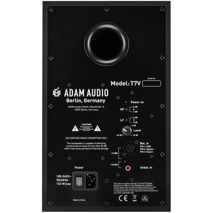 Rear panel view of Adam T7V Studio Monitor