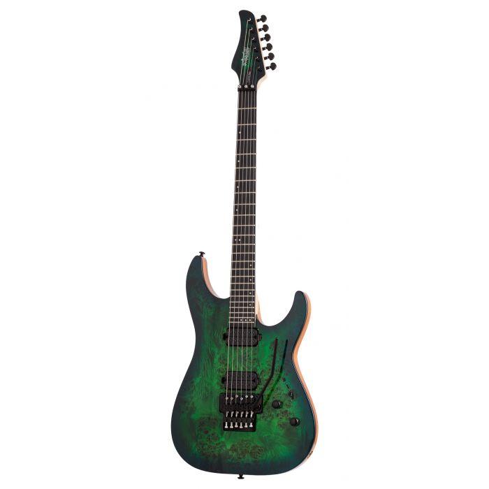 Schecter C-6 FR Pro Electric Guitar in Aqua Burst with Floyd Rose