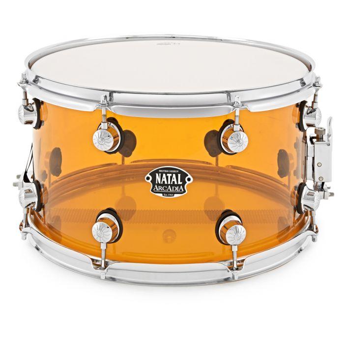 """Natal Arcadia Acrylic Transparent Orange 14"""" x 8""""  Snare Drum"""