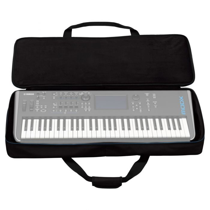 Yamaha MODX6 Soft Case Open with a MODX6 Inside for Illustrative Purposes