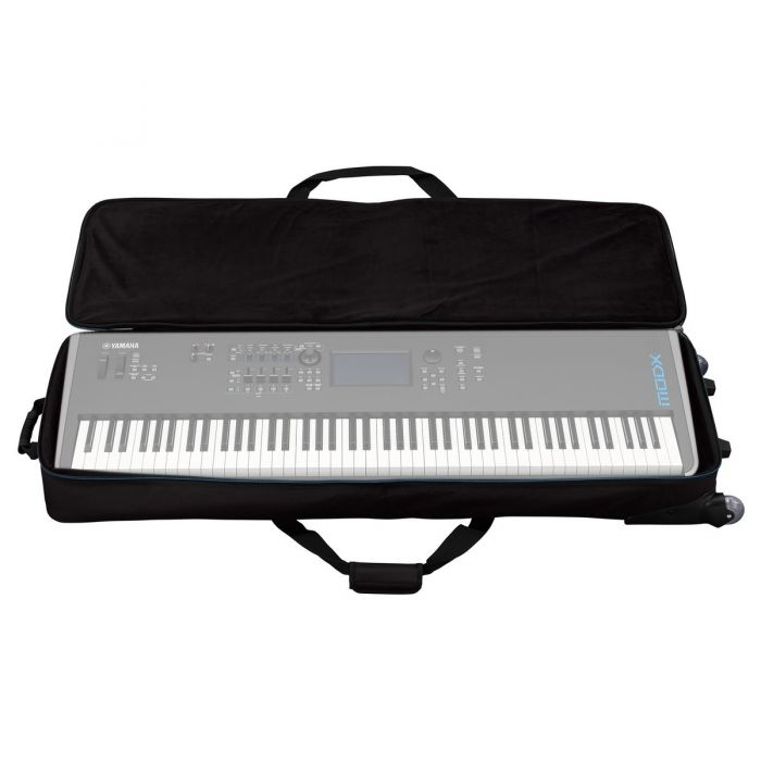 Yamaha MODX8 Soft Case with Wheels Open with a MODX8 in it. Of course, the MODX8 is not included.