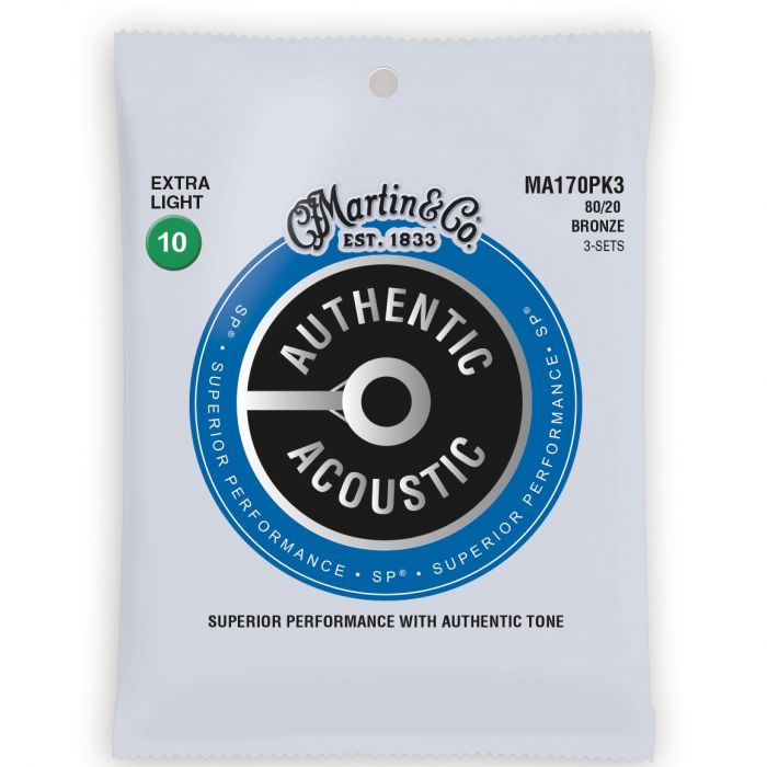 Martin Authentic Acoustic SP 80/20 Bronze Extra Light Guitar Strings 3-Pack