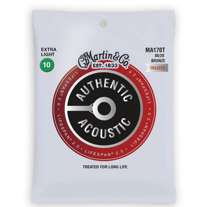 Martin Authentic Acoustic Lifespan 2.0 80/20 Bronze Extra Light Guitar Strings