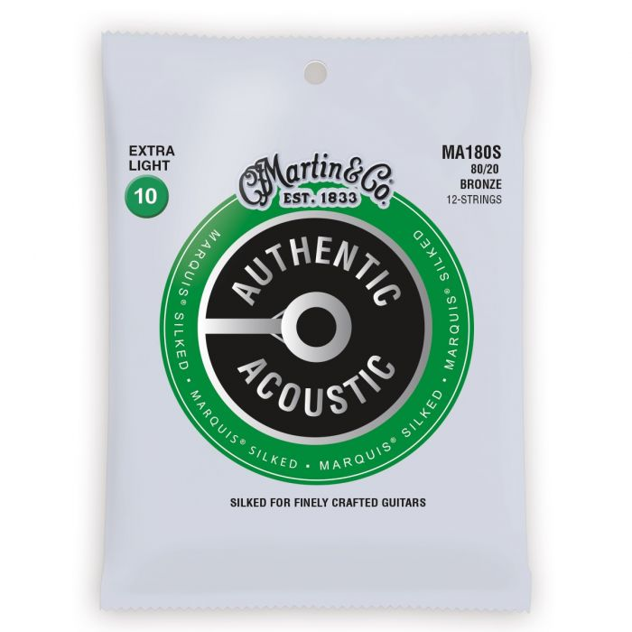 Martin Authentic Acoustic Marquis Silked 80/20 Bronze Extra Light 12 String Guitar Strings
