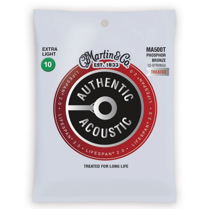 Martin Authentic Acoustic Lifespan 2.0 Phosphor Bronze Extra Light 12 String Guitar Strings