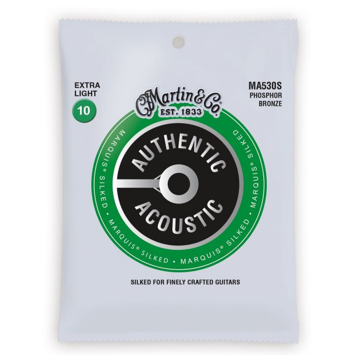 Martin Authentic Acoustic Marquis Silked Phosphor Bronze Extra Light Guitar Strings